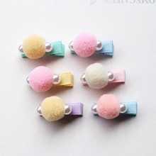 30pc/lot Delicated Girls Wool Pearl Hair Clip Top Quality Hairpin Kid Barrette Soft Korear Hair Grips Cute Pink Peach Headwear