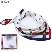 Fashion Small Square 40% Natural Silk Women Scarves Luxury Brand White Honeybee Woman Neck Scarf for Bags Bandana Hijab 60*60cm(China)