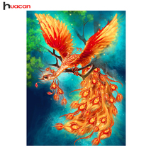 Huacan Golden Phoenix Diamond Painting Cross Stitch Wall Art Painting Patterns Rhinestone Resin Diamond Mosaic Embroidery Gift(China)