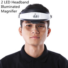 Headband Magnifier With 5 Replaceable lens Detachable LED Light Illuminated Magnifier 6X Eye Glass Magnifying Loupe Headlamp(China)
