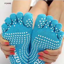 Fcare 2015 10PCS=5 pairs cotton non-slip toe socks massage boat five finger Toe cinco dedos girl socks(China)