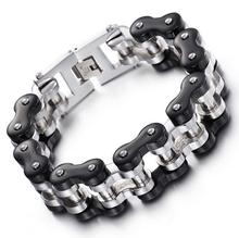 Hot Selling 23CM * 22mm Large Heavy Huge Men's Titanium Stainless steel Black silver Bike Biker Motorcycle Chain Bracelet Bangle