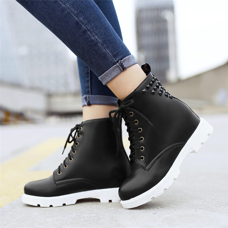 Plus Size 34-43 Fashion 2017 New Women Combat punk ankle Boots Martin Boots Sexy Vintage Rivets Motorcycle Boots flattie Shoes<br><br>Aliexpress