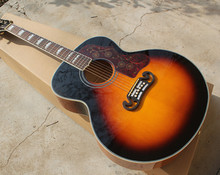 "43""Tobacco Sunburst Acoustic Guitar,Gold Hardwares,Red Tortoise Shell Pickguard,Offer Customized"
