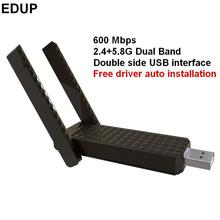 EDUP 802.11AC 600Mbps 2.4G&5.8G Dual Band network wireless card wifi lan adapter with two antenna free driver auto installation