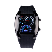 Military Sports Watch Racing Car Dashboard Design Square Shaped LED Wrist Watch with Faux Silicone Strap sports men's watches