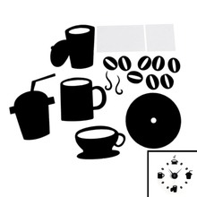 DIY Modern Home Decoration Large Coffee Cup Decal Kitchen Wall Clocks Silent Watch Decals (Black)