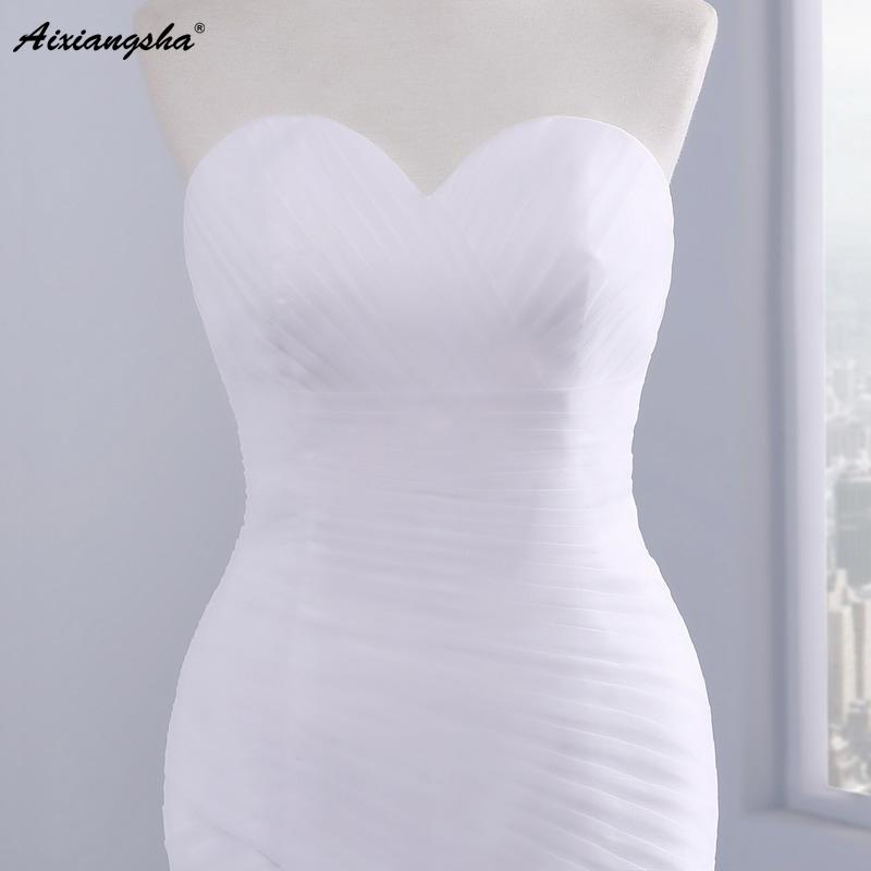 Hot sale floor length pleat cheap wedding dresses tulle robe de mariage Elegant Mermaid wedding dress 2017 4