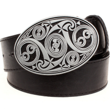 Buy Fashion men's belt round swirl metal buckle belts simple irregular pattern heavy metal style belt punk rock performance girdle for $9.30 in AliExpress store