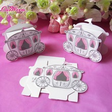 100pcs/lot Cinderella Carriage Pumpkin Coach Gift Box Wedding Party Invitations  Favors Box Candy Gift Box