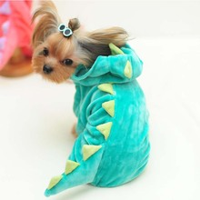 Cute Dinosaur dog costume clothing winter warm Dog cat Pet coat jacket hoodie fleece funny small dog chihuahua clothes