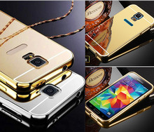 Luxury Mirror effect Hybrid case for Samsung Galaxy S5 mini Hard Aluminum Metal Frame + PC Back Cover Case For samsung S5 mini
