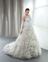 2016 New Arrival High Quality Luxury Crystal Tulle Overlay See Through High Neck Bride Wedding Dress Gowns