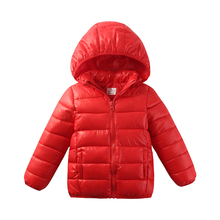 2017 Newest 2-11Y Ultra light baby Girls boys cotton jacket coat winter autumn warm children letter parkas clothes cheap free(China)