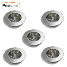 "Probrico Round Recessed Sliding Cabinet Door Handlles MH005SS65 5Pack Stainless Steel 65mm 2.6"" Kitchen Furniture Finger Pull(China)"