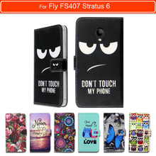 100% Special Luxury PU Leather Flip Cartoon wallet case Book case for FLY Fly FS407 Stratus 6, gift