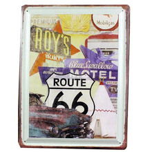 vintage home decor sign Rimless Adornment Metal plaque Rimless sign Retro embossing folders plastic bar route 66 Roy motel