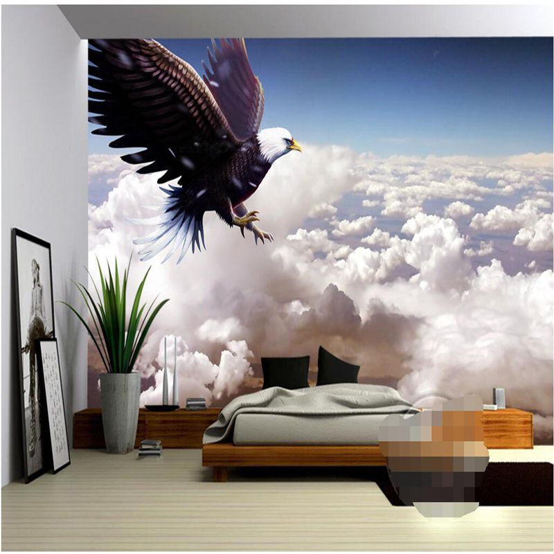 Mural Wallpapers Home Decor Photo Background Wallpaper Photography Eagle Flying Blue Sky Hotel Bathroom Large Wall Mural<br><br>Aliexpress