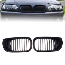 1 Pair Matte Black Front Hoods Kidney Sport Grille For BMW 3 Series E46 Touring 2001-2006 Facelift 4 Door 4D Car Bumper Grille
