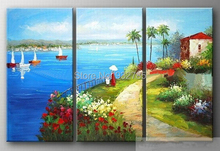 oil painting Mediterranean landscape seascape scenery modern art artwork hand painted wall art decor, free shipping