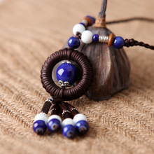 Sweets porcelain national trend handmade ceramic knitted necklace vintage necklace pendant
