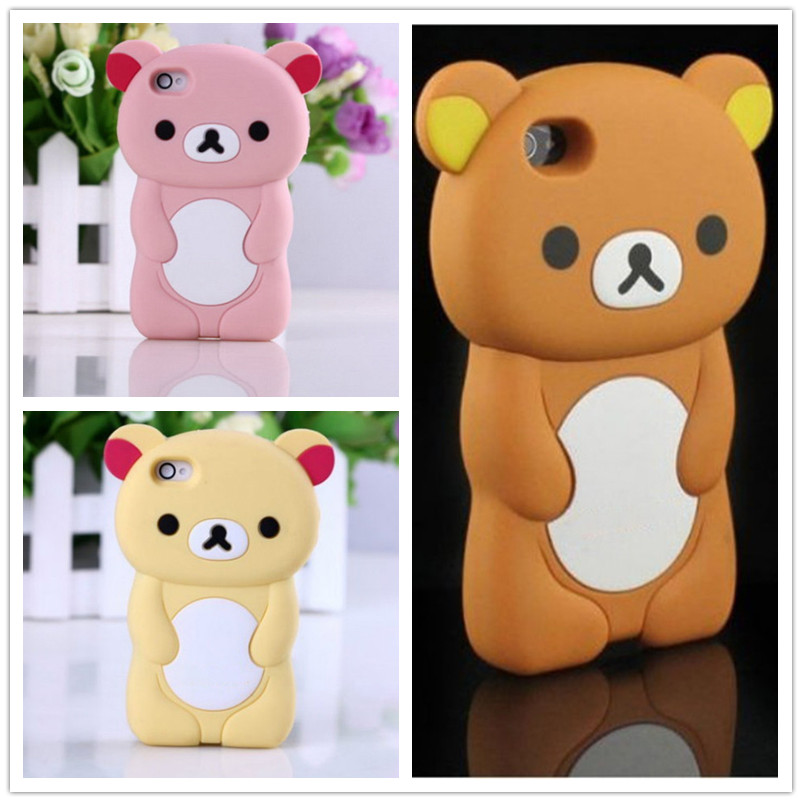 Case For iPhone 5S Case 3D Rilakkuma Cute Brown Silicone Bear Cover For iPhone SE 5 5S Case Phone Cases Capa for iPhone5S(China (Mainland))