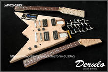 DIY Electric Guitar Double Neck Kit Bolt-On Solid Mahogany Body(China)