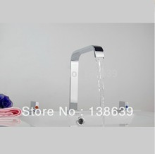 Free shipping 2014 new discount polished chrome bathroom faucet,deck mounted dual handles batroom basin sink mixer tap faucet