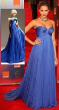 Elegant Sweetheart Ruched Tulle Royal Blue Empire Red Carpet Dresses Evening Celebrity Oscar Gowns by Jessica Alba ZY1163