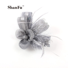 ShanFu Women Designer Sinamy Fascinator Feather Wedding Brooch with Net for Church Cocktail Tea Party SFB7099