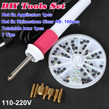 Best DIY Tools Set! Fast Heating Hot Fix Applicator Wand Gun With Hotfix Rhinestones Iron On Crystal B2279