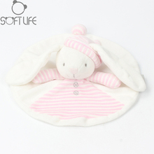 25CM Baby Plush Toy Pink Hat Bear Scarf Handkerchief Appease Towel Rattles Crap Doll Sleep Comfort Doll For Calm Educational Toy(China)