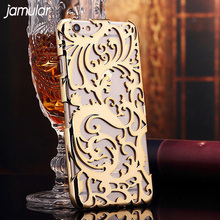 JAMULAR Artistic Carving Hollow Plating Electroplating Phone Case For iPhone 7 6 6s 8 Plus Plastic Back Cover Shell Bag(China)