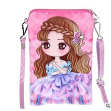 M673 Cute Women Summer Bag Creative Beautiful Girl Double Zipper Fine Print Pattern Messenger Bags Pu Leather(China)