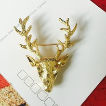 BS054 2017 Fashion Brand New Vintage Deer Brooch lapel pines For Women Wedding hijab pins Jewelry wholesale free shipping
