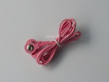 2Pcs/Pack DC Head 2.5mm 2 in 1 Electrode Wires Connecting Cables For Digital TENS Machine Massager Color Pink