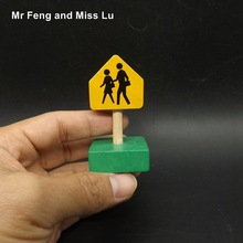 Warning Pedestrian Sign on Road Instruction Traffic Sign Educational Toys Wood Montessori Model(China)