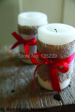 3 Rolls Natural Burlap Ribbon 3'' wid with Red Ribbon , Candle decoration, Christmas Crafts, Handmade Burlap Gifts(China)