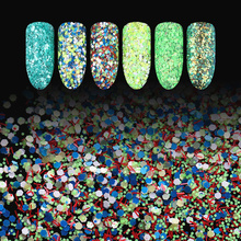 1 Set 3g Cheese Nail Sequins Green Rose Red Yellow Blue Series Hexagon Glitter Paillette Nail Art Decoration