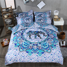 Indian Style Bedding Elephant Reactive Printed White and Blue Quilt Cover Set 3/4Pcs Duvet Cover  Queen Size Bedding Bed Sheet