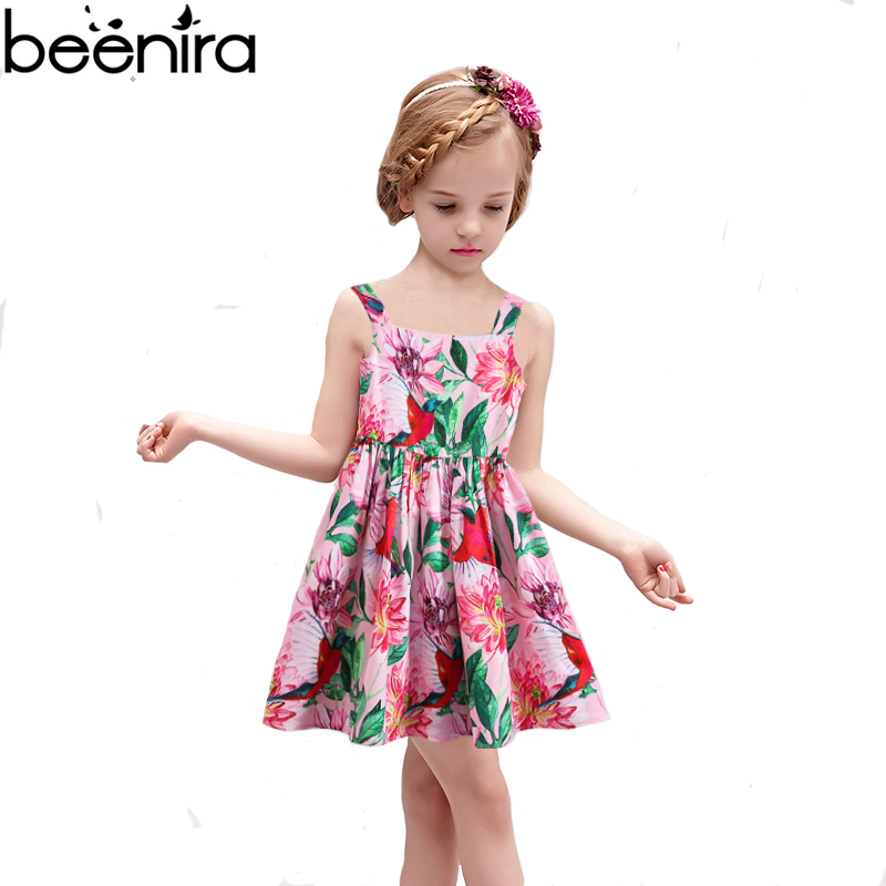 BEENIRA 2018 Summer Flower Girls DressCotton Pink Color Print Draped Ball Gown Clothing Chlidren Costume for Party High Quality<br>