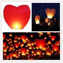 Love shape 11pcs/lot heart shape umbrella flying paper sky lanterns wire free wedding/party decoration free shipping