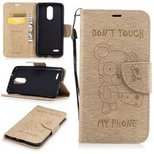 For LG K8 2017 K7 Leather Flip Case With String Cute Bear Stand Wallet Cover Case For LG K7 K8 2017