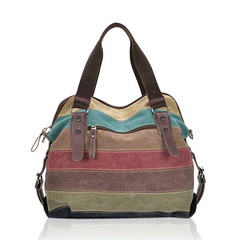 Women Canvas Striped Crossbody Bags Vintage Contrast Color Canvas Tote Handbags Female Messenger Bag Bolsas Femininas Wholesale<br>