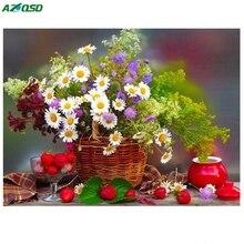 AZQSD Полный Дрель Вышивка Алмаз 3d Алмазный Крест Стежка Мода Алмазный Мозаика фотографии Стразами цветы a1255(China)