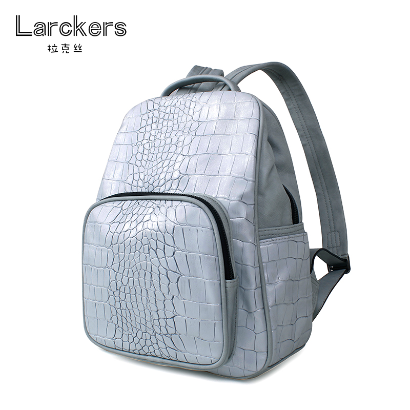 2017 fashion silvery women backpacks alligator pattern popularity casual bag soft leather patchwork color backpack<br>