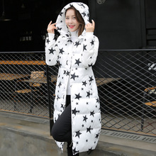 new winter women's High Quality warm cotton padded coat printing Long padded jacket Parka Hood Over Star Printing Coat 3XL