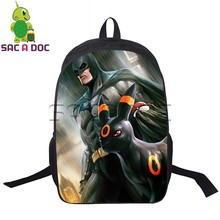 Anime Batman Pokemon Crossover Backpack Batman Superman Umbreon Printed Laptop Backpack for Teens Boys School Bag Travel Daypack(China)