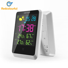 Redcolourful Digital LED Alarm Clock Weather Station Indoor Outdoor Digital Alarm Clock With LED Screen Date Time Displaying
