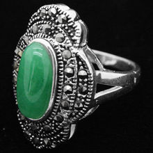 24*16mm VINTAGE NATURAL FREEN JADE MARCASITE 925 SILVER RING SIZE 7/8/9/10